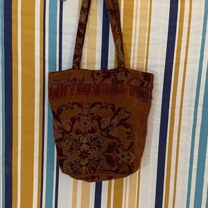 Vintage Carpet Tapestry Beaded Fringe Bag